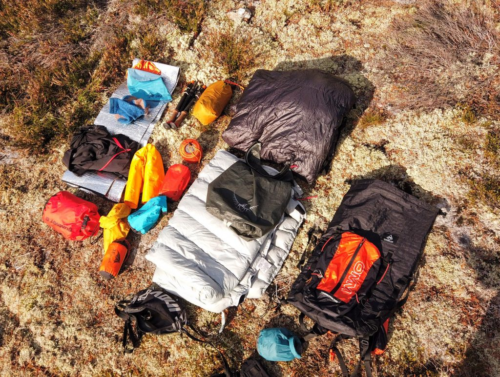 Backpack and contents. Hyperlight Mountain Gear Summit. OMM Compressor Pod, OMM Go Pod